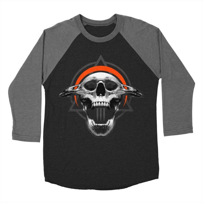 Corvus TriSkull Men's Baseball Triblend T-Shirt by The Dark Art of Chad Savage
