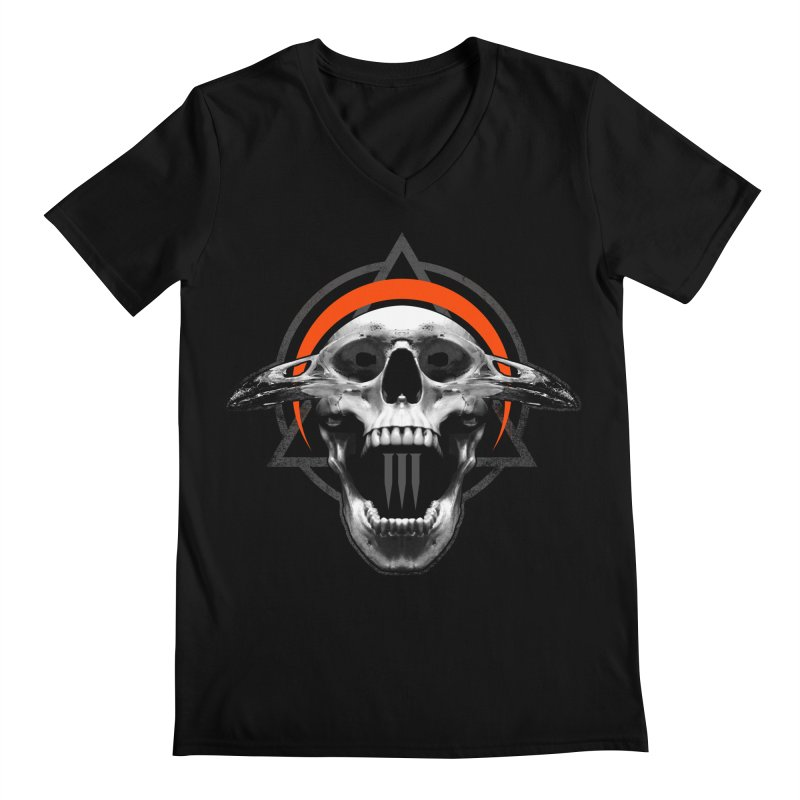 Corvus TriSkull Men's Regular V-Neck by The Dark Art of Chad Savage