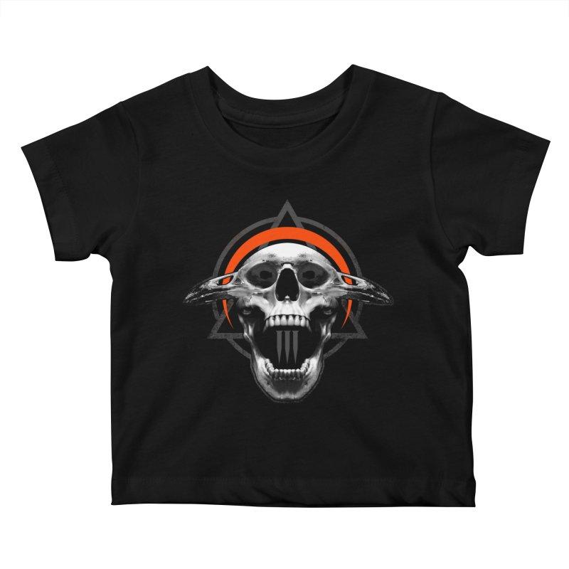 Corvus TriSkull Kids Baby T-Shirt by The Dark Art of Chad Savage