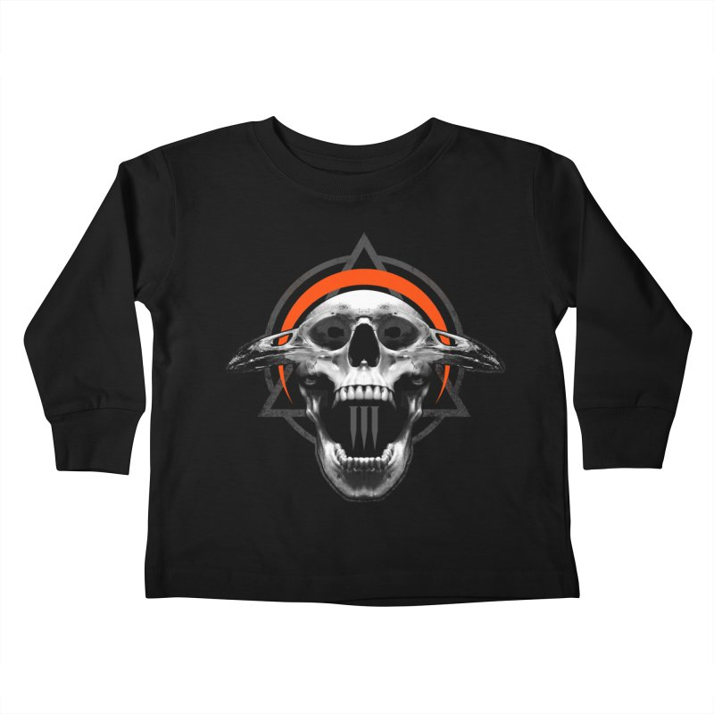 Corvus TriSkull Kids Toddler Longsleeve T-Shirt by The Dark Art of Chad Savage