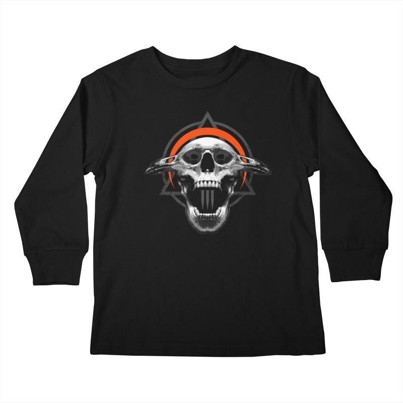 Corvus TriSkull Kids Longsleeve T-Shirt by The Dark Art of Chad Savage