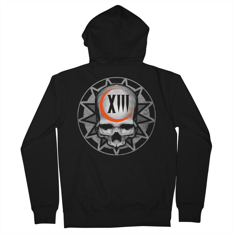 Lucky 13 Skull Women's French Terry Zip-Up Hoody by The Dark Art of Chad Savage