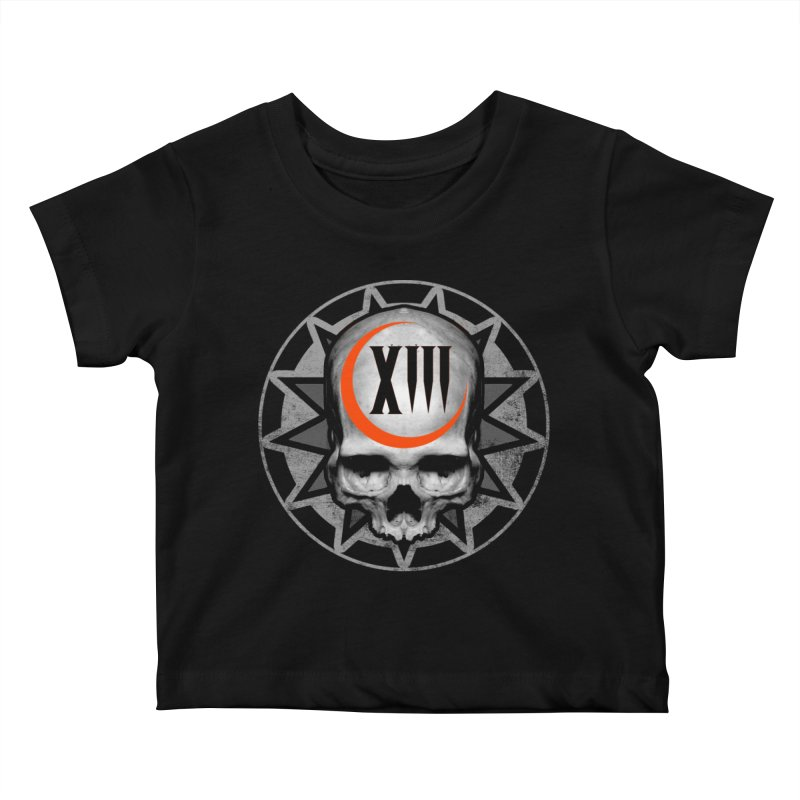 Lucky 13 Skull Kids Baby T-Shirt by The Dark Art of Chad Savage