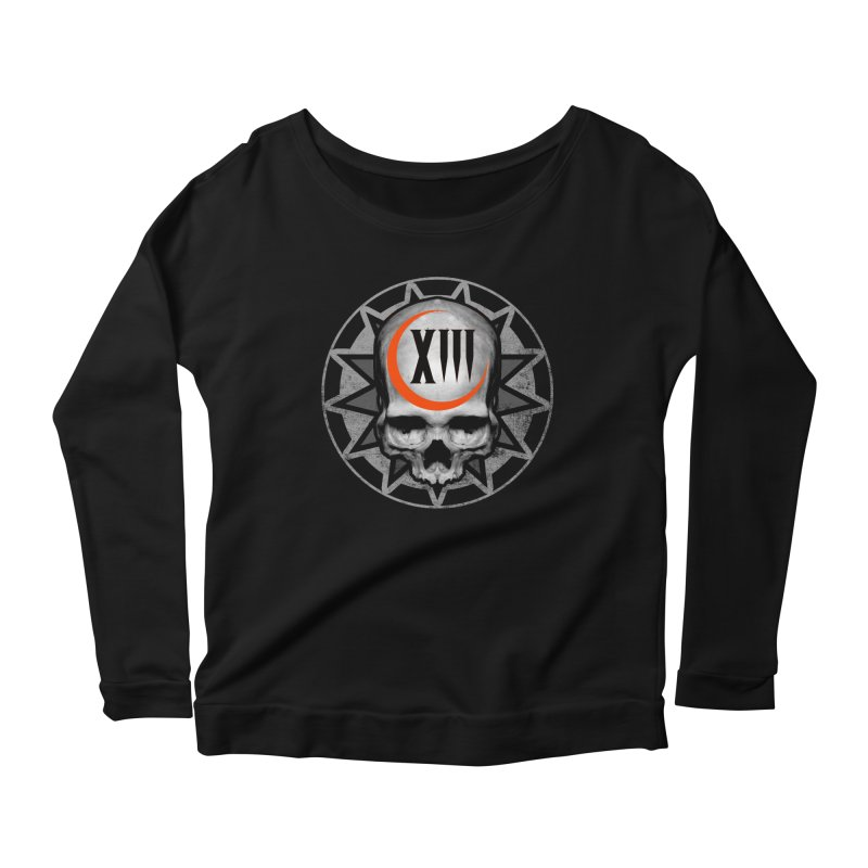 Lucky 13 Skull Women's Scoop Neck Longsleeve T-Shirt by The Dark Art of Chad Savage
