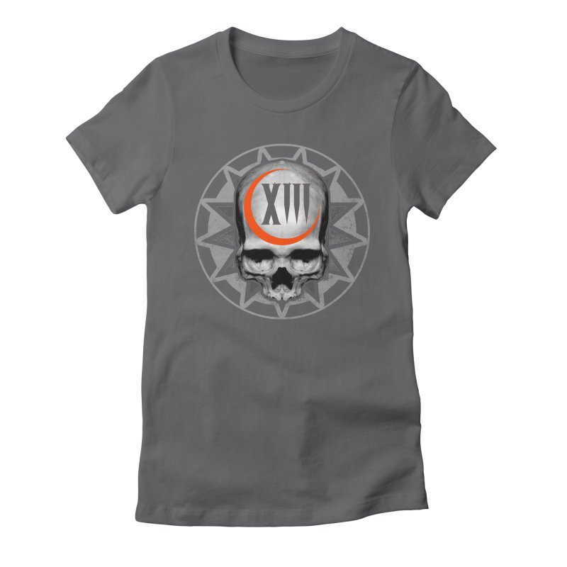 Lucky 13 Skull Women's Fitted T-Shirt by The Dark Art of Chad Savage