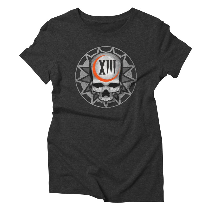 Lucky 13 Skull Women's Triblend T-shirt by The Dark Art of Chad Savage