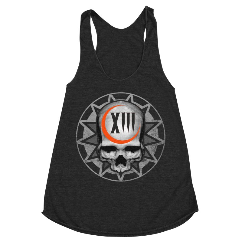 Lucky 13 Skull Women's Racerback Triblend Tank by The Dark Art of Chad Savage