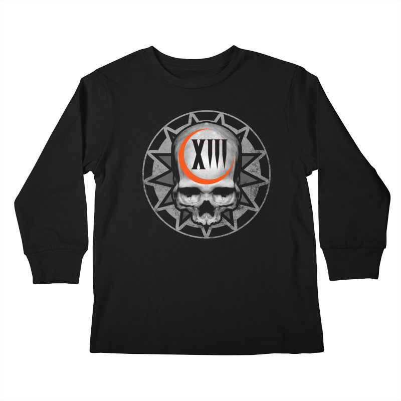 Lucky 13 Skull Kids Longsleeve T-Shirt by The Dark Art of Chad Savage