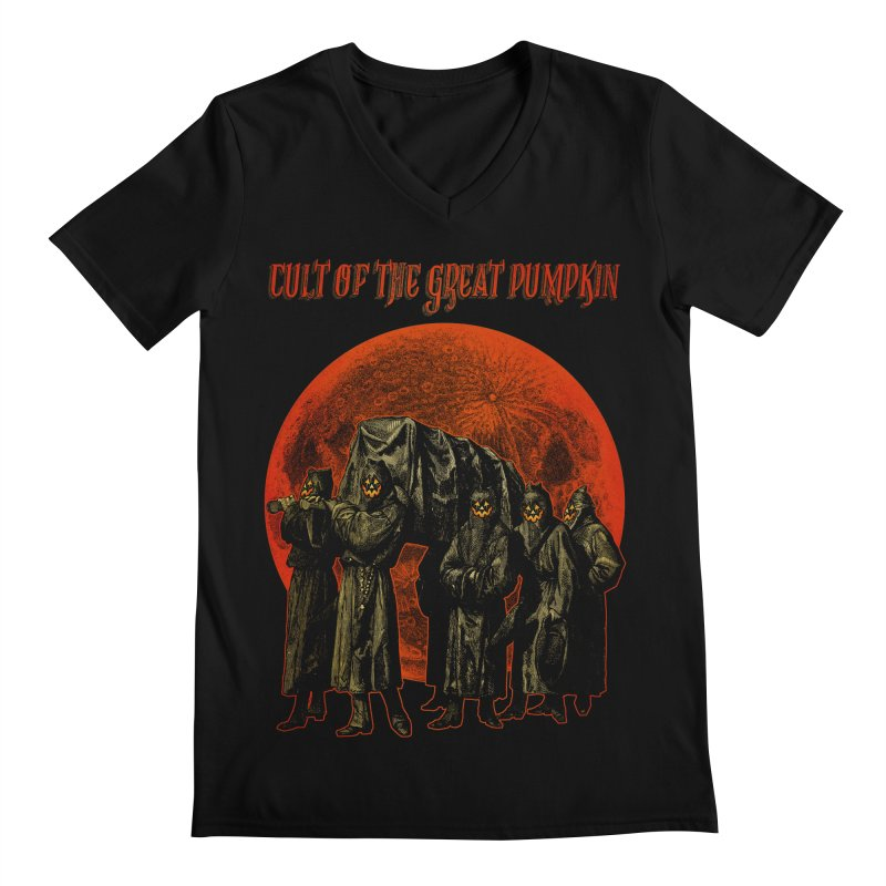 Cult of the Great Pumpkin: Pallbearers Men's Regular V-Neck by The Dark Art of Chad Savage