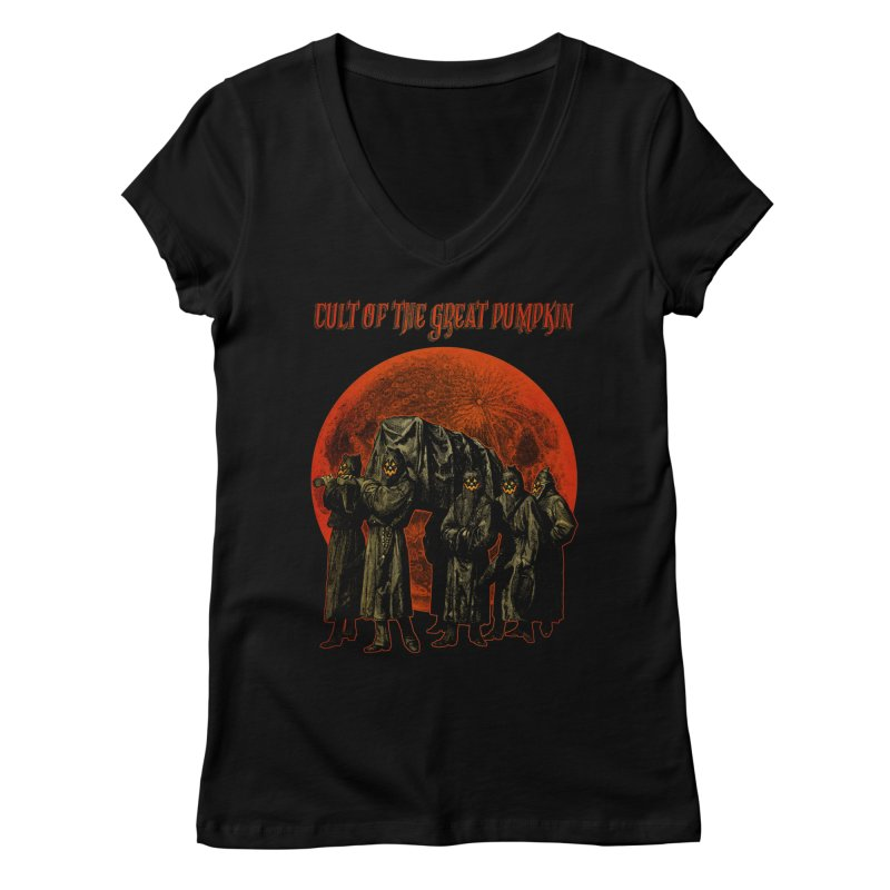 Cult of the Great Pumpkin: Pallbearers Women's Regular V-Neck by The Dark Art of Chad Savage