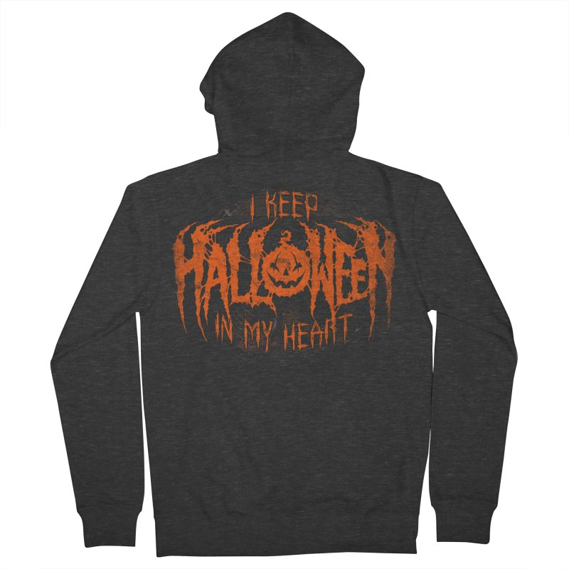 I Keep Halloween In My Heart Women's French Terry Zip-Up Hoody by The Dark Art of Chad Savage