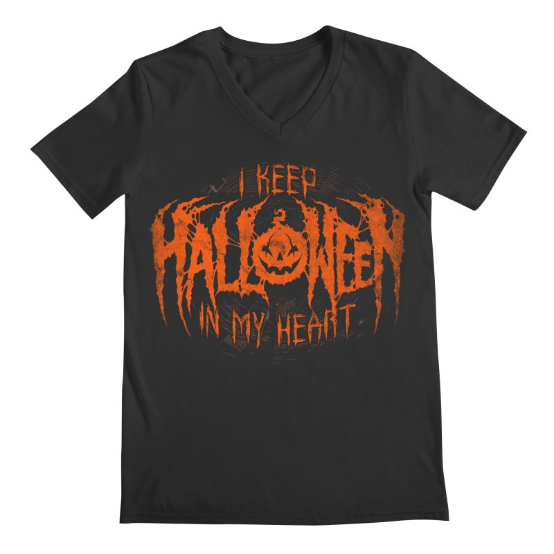 I Keep Halloween In My Heart Men's Regular V-Neck by The Dark Art of Chad Savage