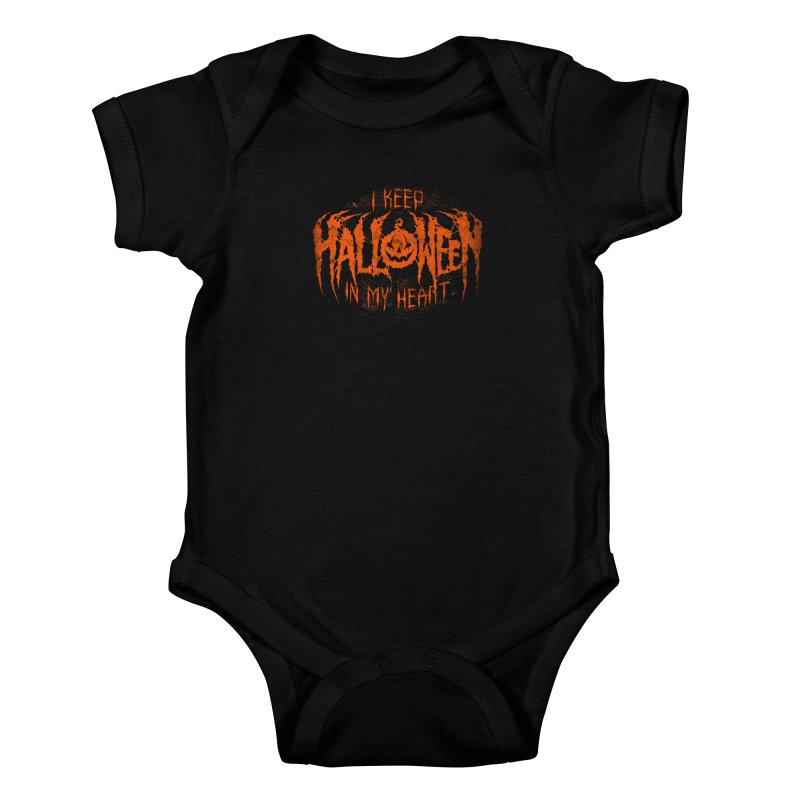 I Keep Halloween In My Heart Kids Baby Bodysuit by The Dark Art of Chad Savage