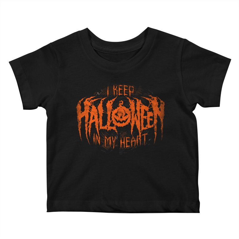 I Keep Halloween In My Heart Kids Baby T-Shirt by The Dark Art of Chad Savage
