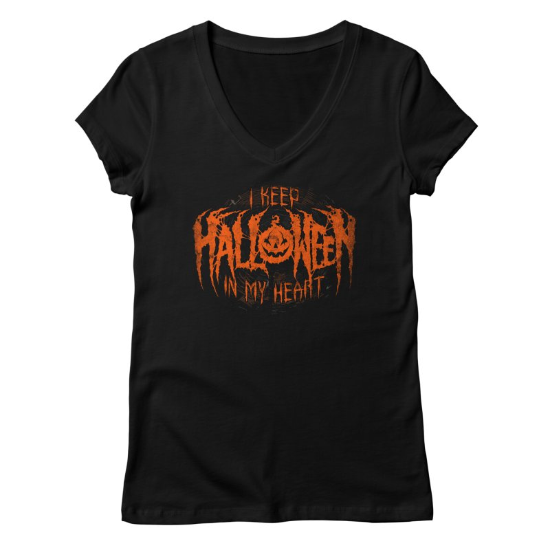 I Keep Halloween In My Heart Women's Regular V-Neck by The Dark Art of Chad Savage