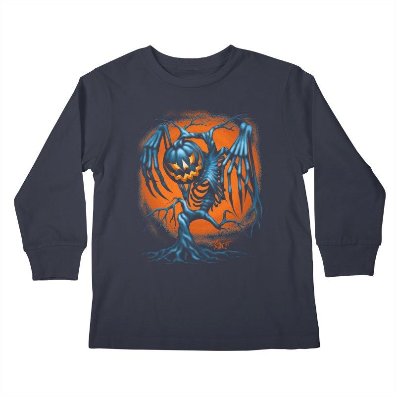 Tricker Tree Kids Longsleeve T-Shirt by The Dark Art of Chad Savage