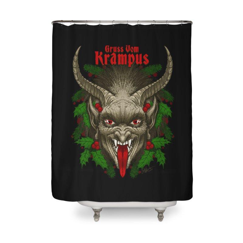 Gruss vom Krampus by Chad Savage Home Shower Curtain by The Dark Art of Chad Savage