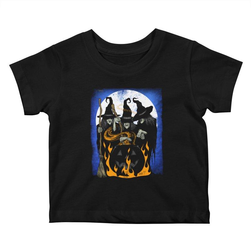 Cauldron Crones Kids Baby T-Shirt by The Dark Art of Chad Savage