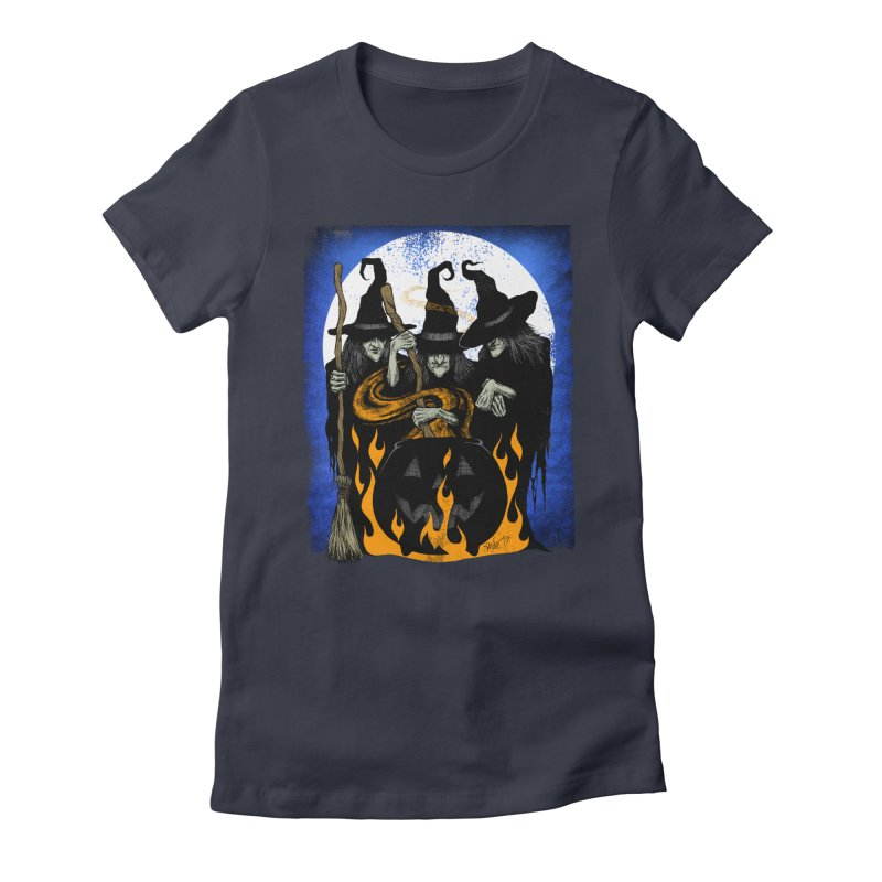 Cauldron Crones Women's Fitted T-Shirt by The Dark Art of Chad Savage