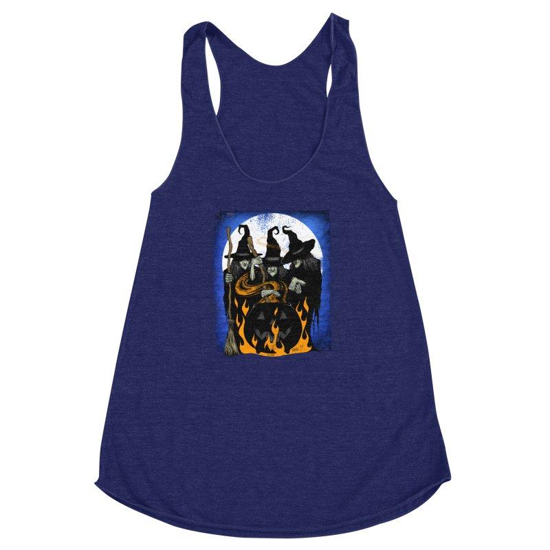 Cauldron Crones Women's Racerback Triblend Tank by The Dark Art of Chad Savage
