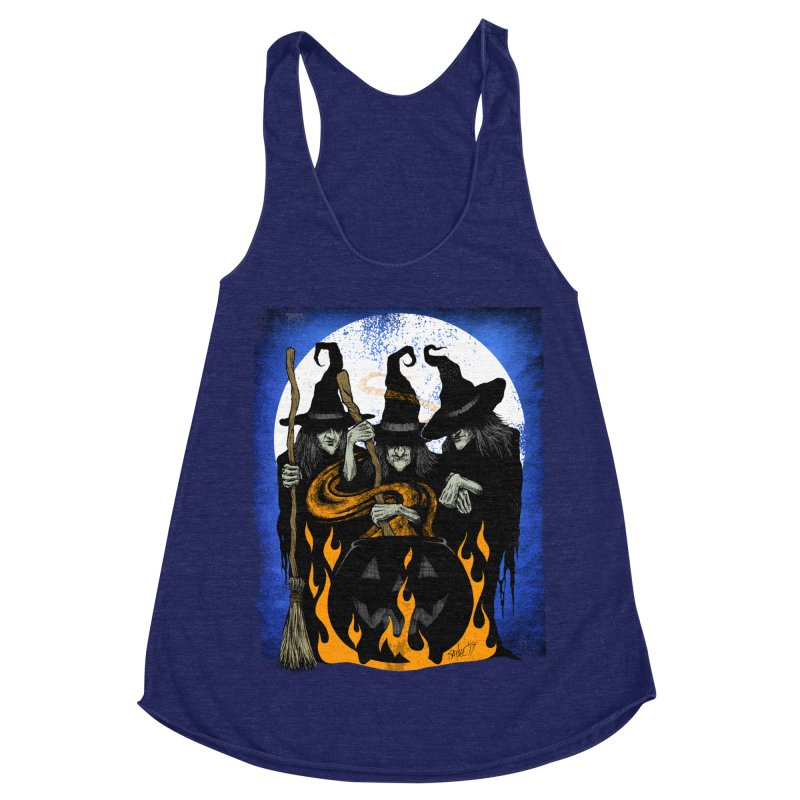 Cauldron Crones Women's Racerback Triblend Tank by The Dark Art of Chad Savage