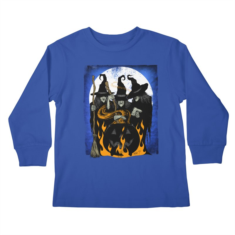 Cauldron Crones Kids Longsleeve T-Shirt by The Dark Art of Chad Savage