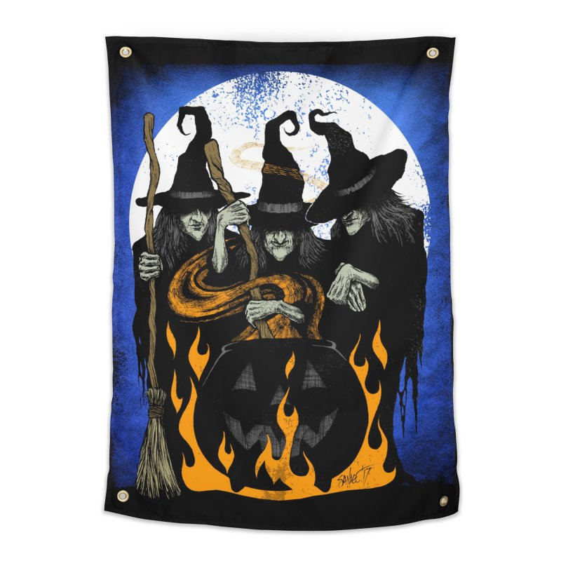 Cauldron Crones Home Tapestry by The Dark Art of Chad Savage