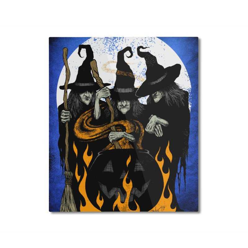 Cauldron Crones Home Mounted Aluminum Print by The Dark Art of Chad Savage