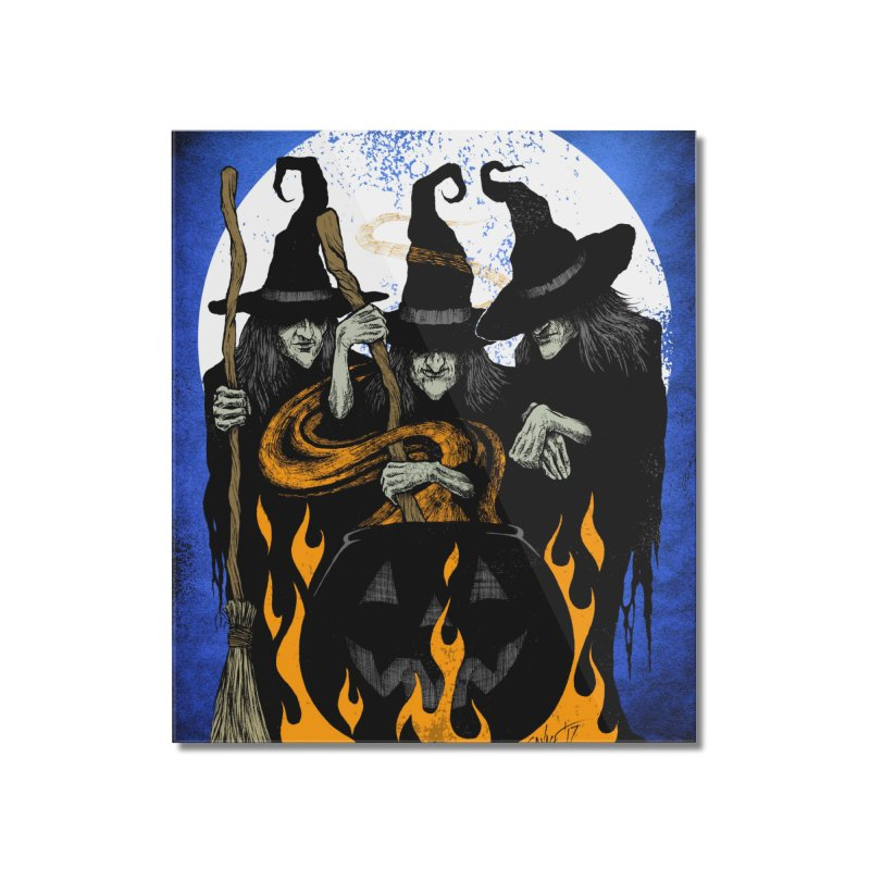 Cauldron Crones Home Mounted Acrylic Print by The Dark Art of Chad Savage