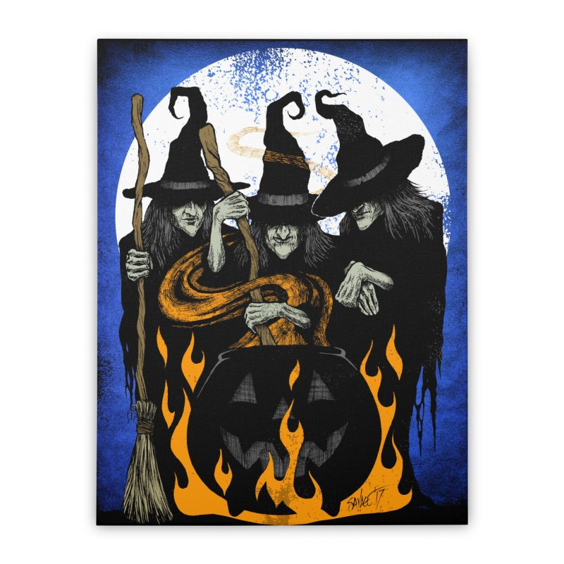 Cauldron Crones Home Stretched Canvas by The Dark Art of Chad Savage