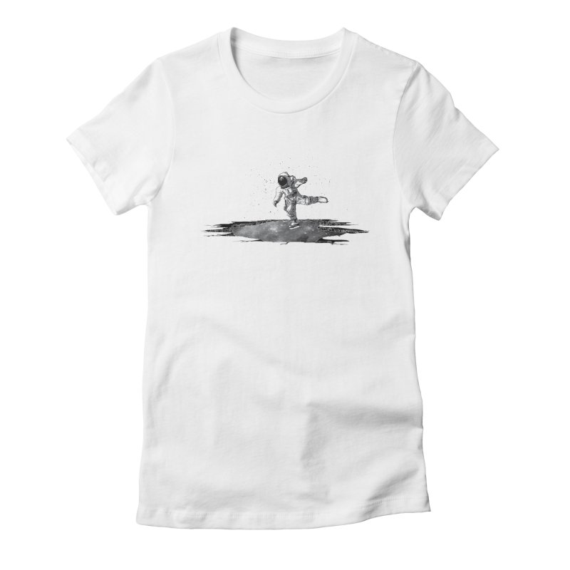 Astronaut Ice Skating Women's Fitted T-Shirt by