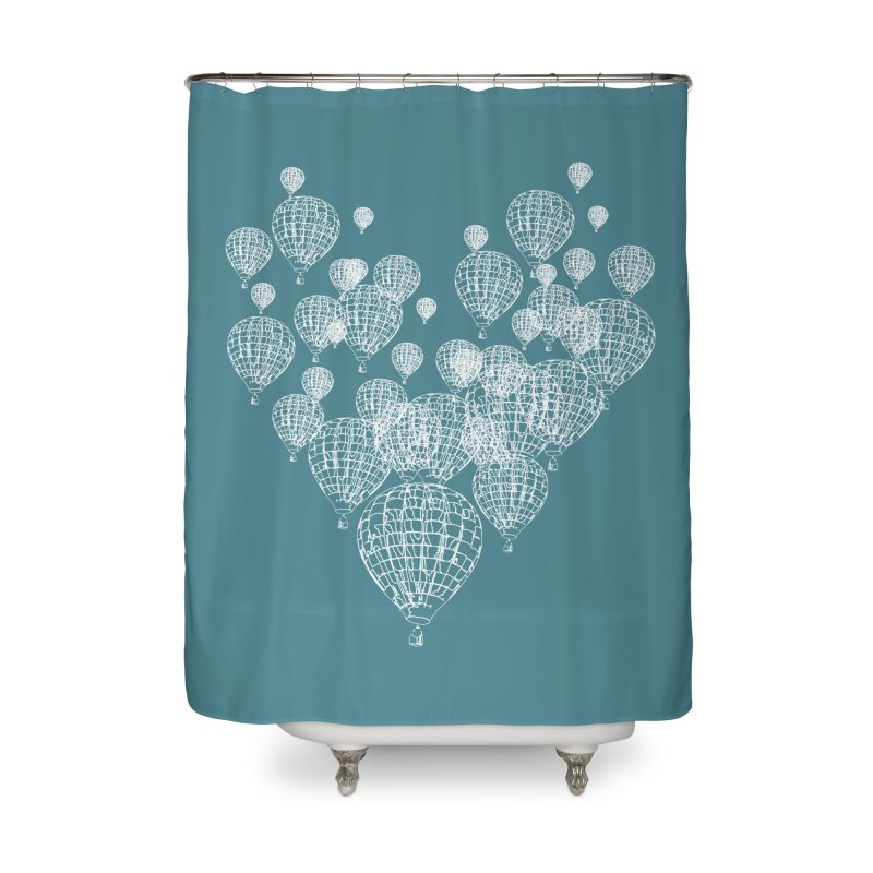 Heart Balloons Home Shower Curtain by