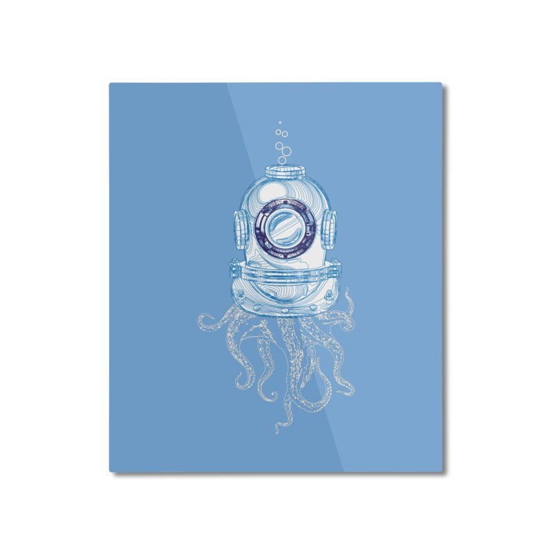 Deep Sea Octopus Home Mounted Aluminum Print by
