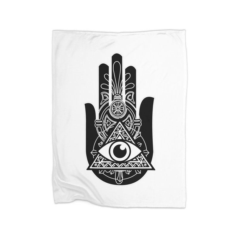 Hamsa Third Eye Home Fleece Blanket Blanket by