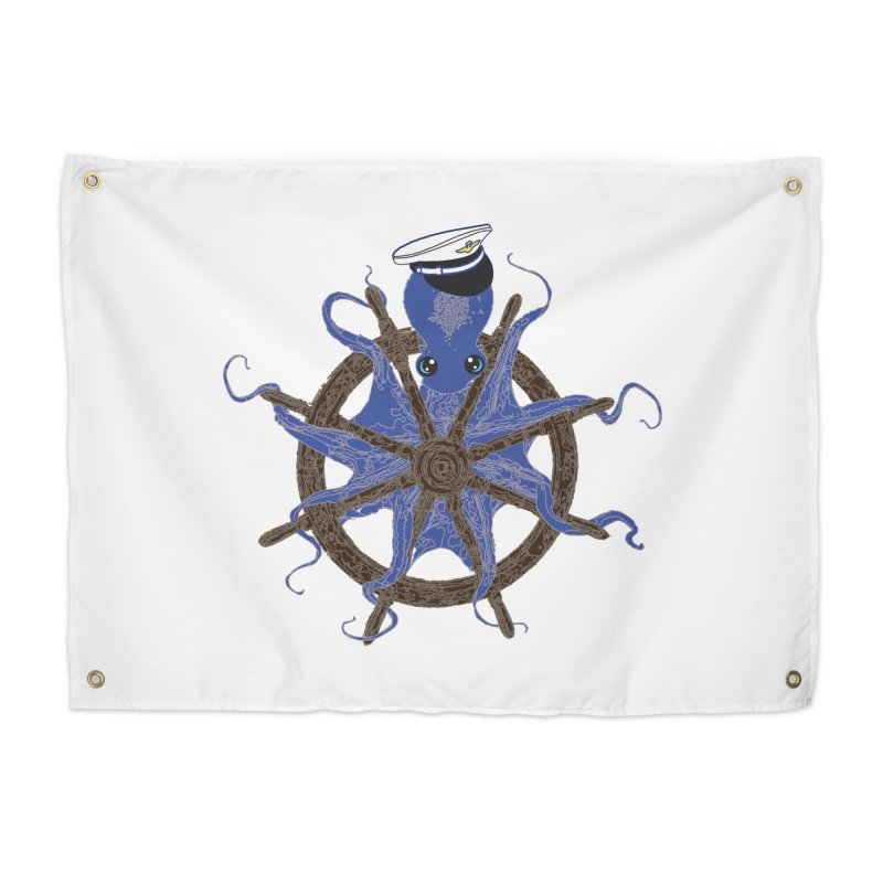 Octopus Captain Home Tapestry by
