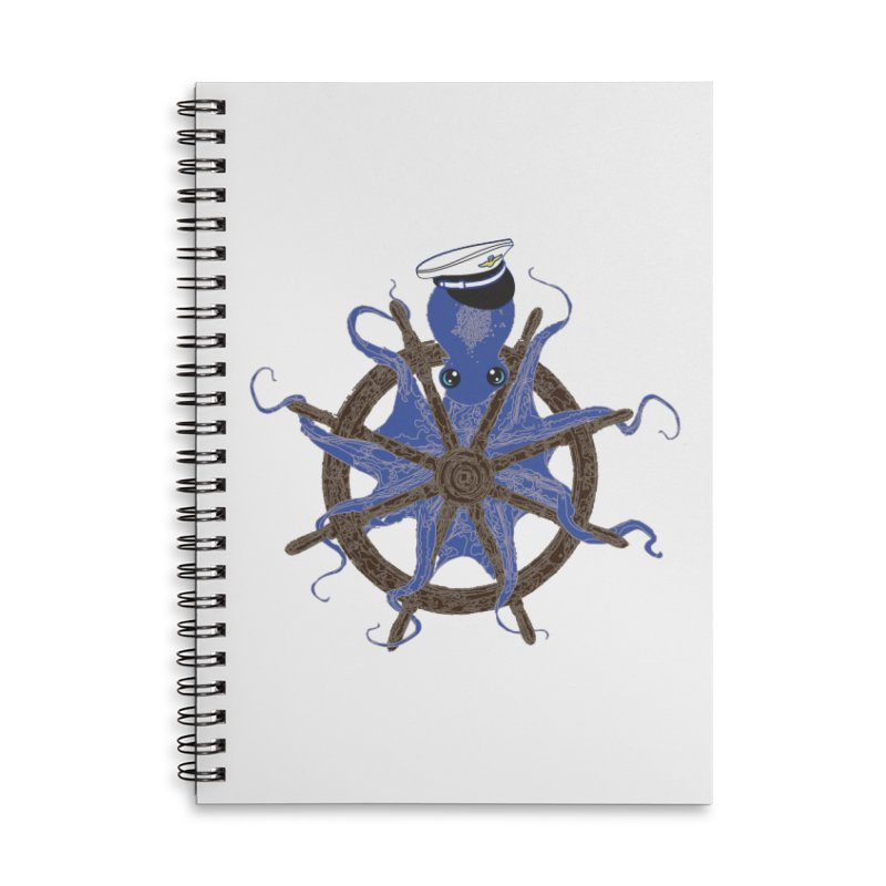 Octopus Captain Accessories Lined Spiral Notebook by