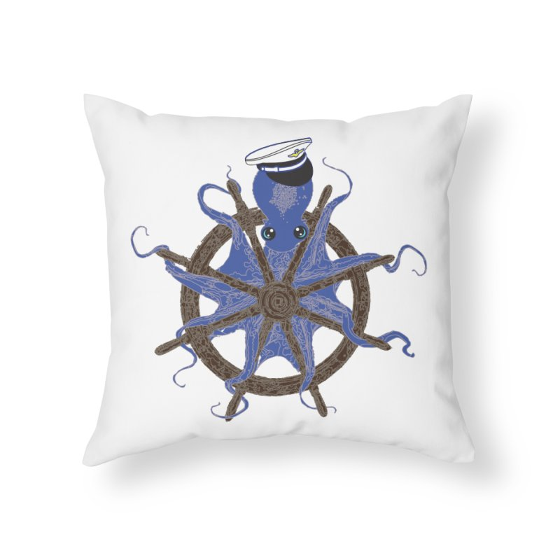 Octopus Captain Home Throw Pillow by