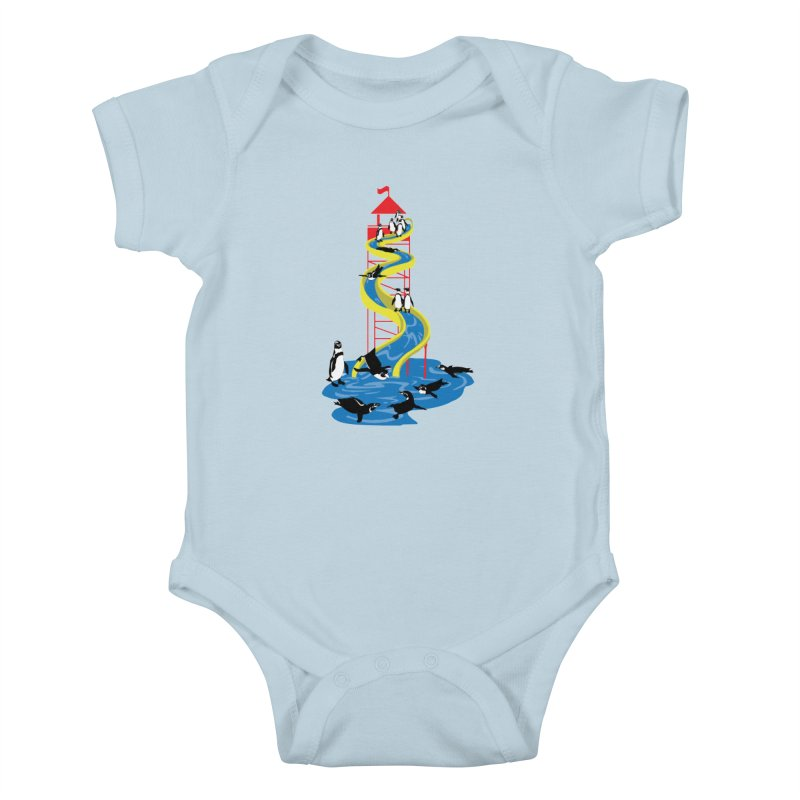 Penguin Waterslide Kids Baby Bodysuit by