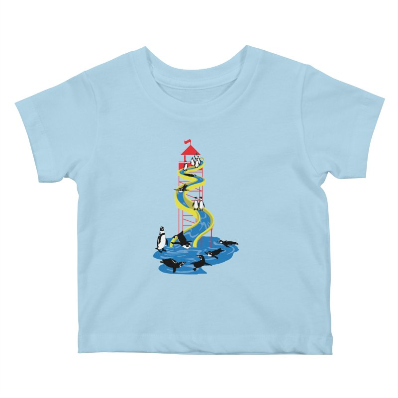 Penguin Waterslide Kids Baby T-Shirt by