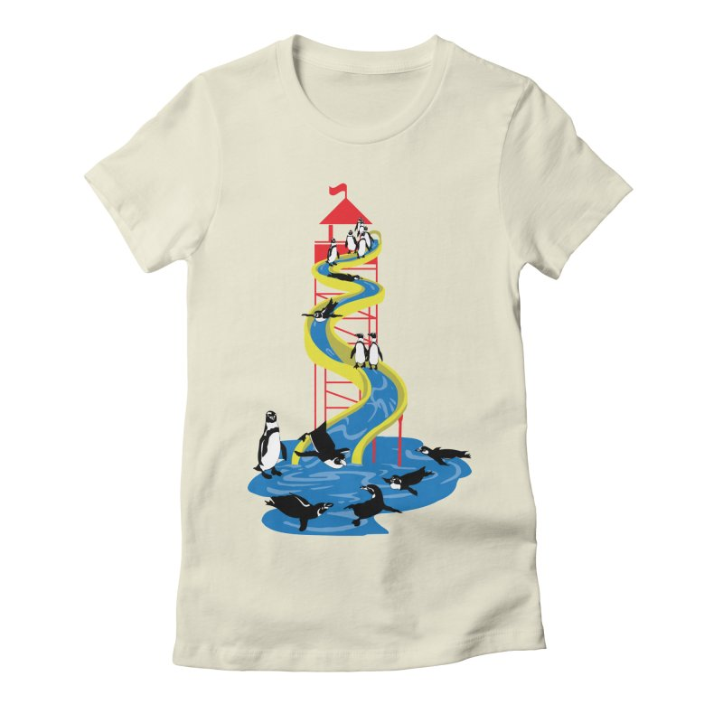 Penguin Waterslide Women's Fitted T-Shirt by