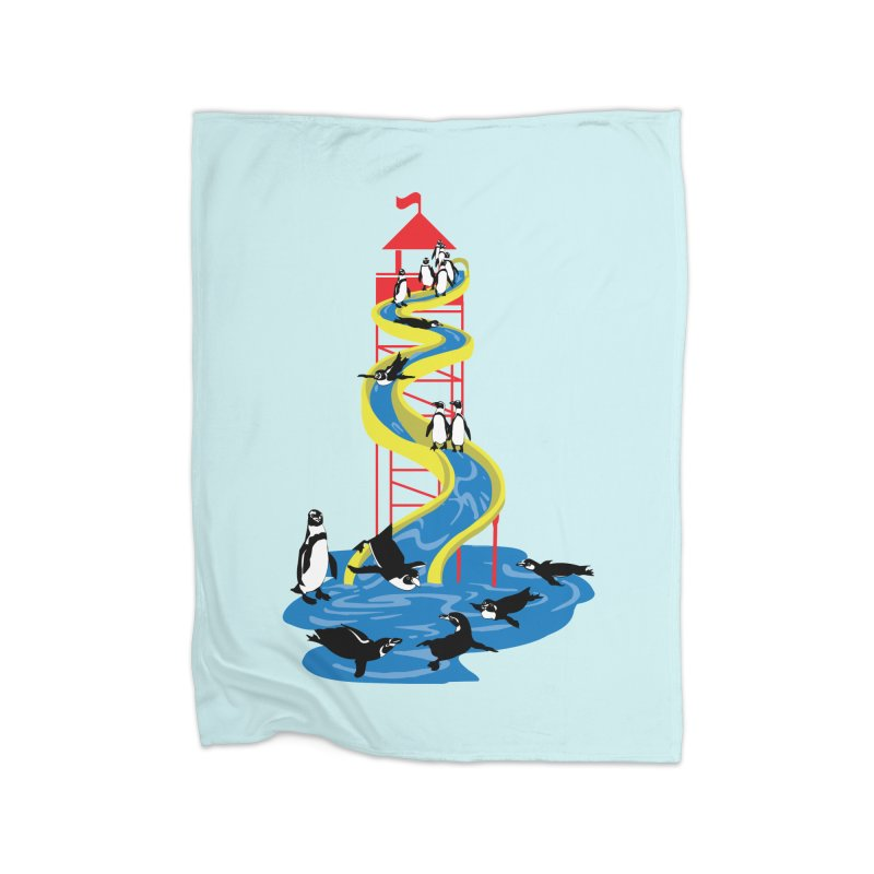 Penguin Waterslide Home Fleece Blanket Blanket by