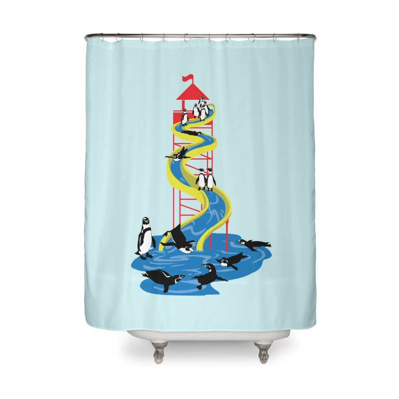 Penguin Waterslide Home Shower Curtain by