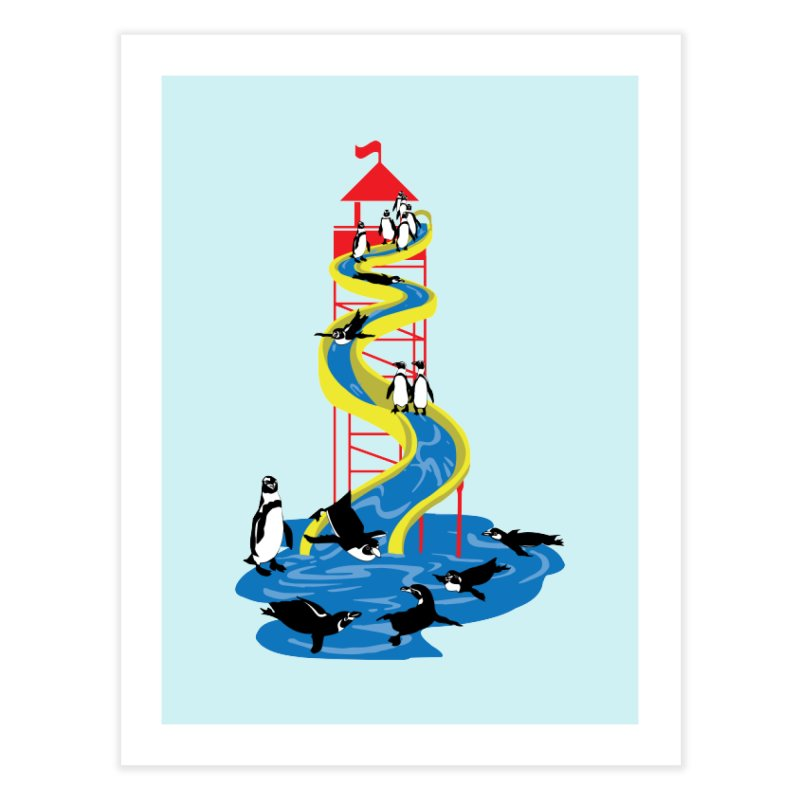 Penguin Waterslide Home Fine Art Print by