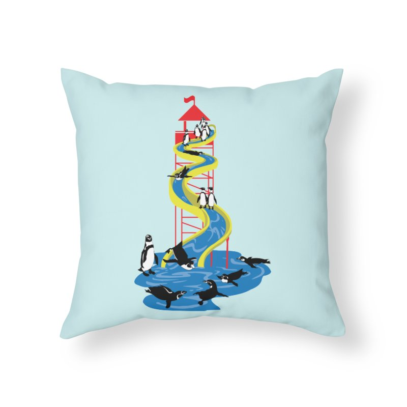 Penguin Waterslide Home Throw Pillow by