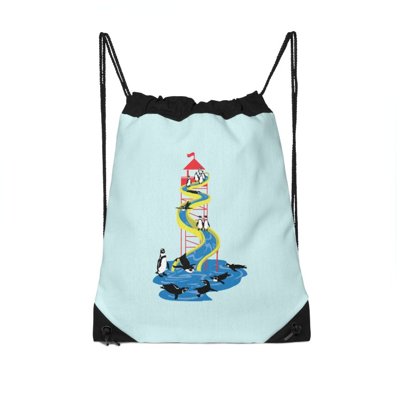 Penguin Waterslide Accessories Drawstring Bag Bag by