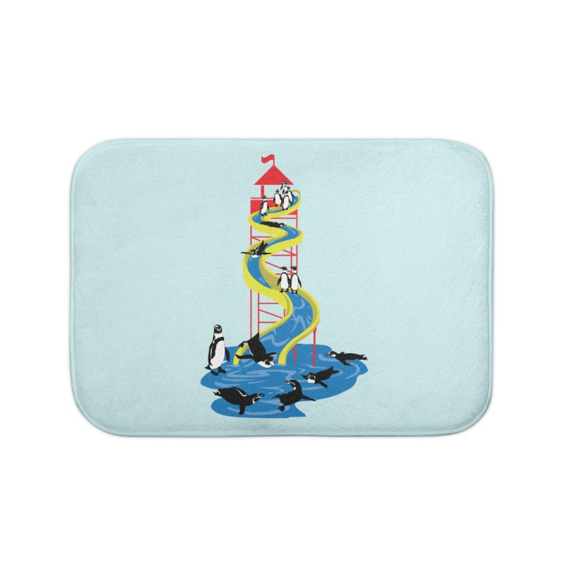 Penguin Waterslide Home Bath Mat by