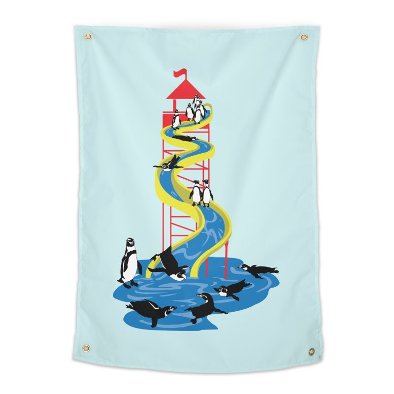 Penguin Waterslide Home Tapestry by