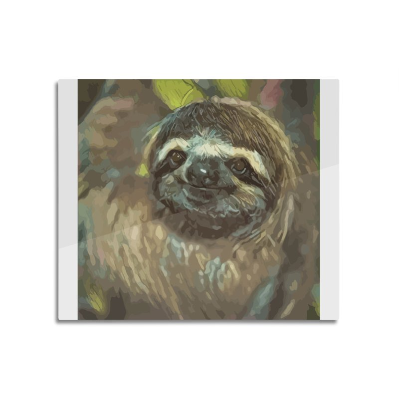 Sloth Home Mounted Aluminum Print by