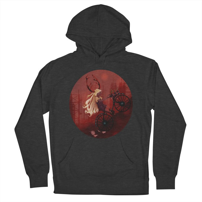 Deer girl on her bike Women's French Terry Pullover Hoody by sawyercloud's Artist Shop