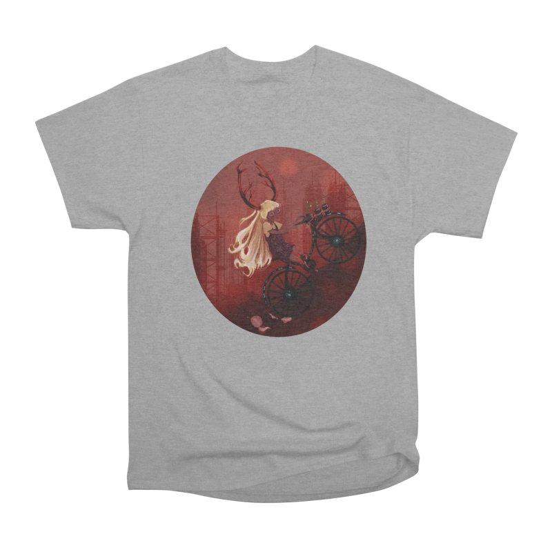 Deer girl on her bike Women's Heavyweight Unisex T-Shirt by sawyercloud's Artist Shop